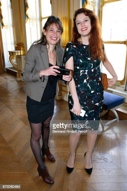 Nominated for Moliere de la Revelation Feminine for La Peur Helene Degy and guest attend the 29th Molieres 2017 Nominee Luncheon at Ministere de la...
