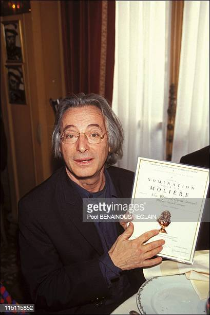 Nominations for the 'Moliere' in Paris France on March 28 1994 Alex Metayer runs in the 'Best comedy' category with his 'Opera Comique' standup act