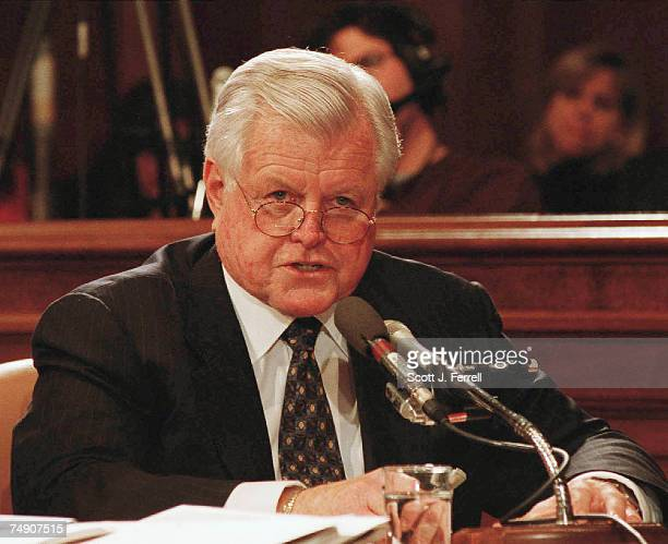 NOMINATIONSen Edward M Kennedy DMass makes his statement against former Sen John Ashcroft to be US Attorney General during the Senate Judiciary...