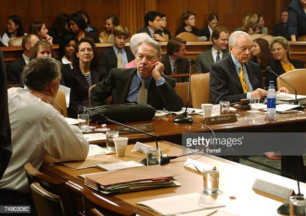 NOMINATIONSSen Jon Kyl RAriz and Sen Charles E Grassley RIowa talk as they and Chairman Orrin G Hatch RUtah wait for a quorum to begin the Senate...