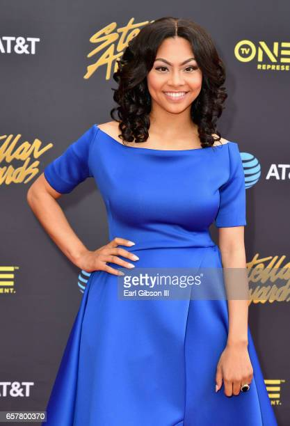 Nominee Bri arrives at the 32nd annual Stellar Gospel Music Awards at the Orleans Arena on March 25 2017 in Las Vegas Nevada