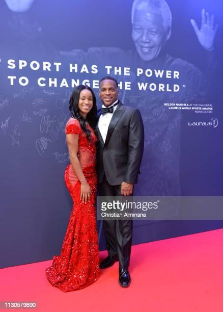 Nominee Briana Williams and Ato Boldon arrive for the 2019 Laureus World Sports Awards on February 18 2019 in Monaco Monaco