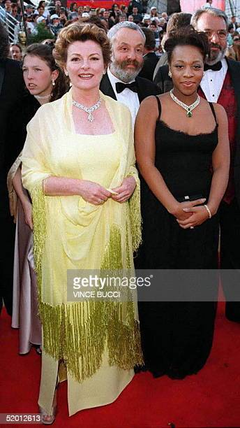 Nominee for Best Actress Brenda Blethyn and nominee for Best Supporting Actress Marianne JeanBaptiste pose for the press at their arrival to the...