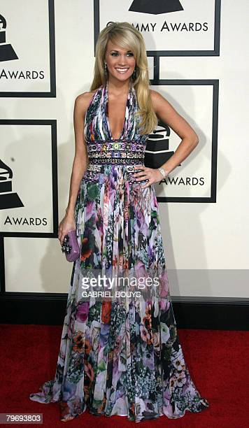 Nominee for Best Female Country Vocal Performance Carrie Underwood arrives at the 50th Grammy Awards in Los Angeles on February 10 2008 AFP...
