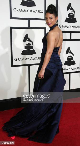 Nominee for Best Female RB Vocal Performance Alicia Keys and songwriter Kerry Brothers arrive at the 50th Grammy Awards in Los Angeles on February 10...