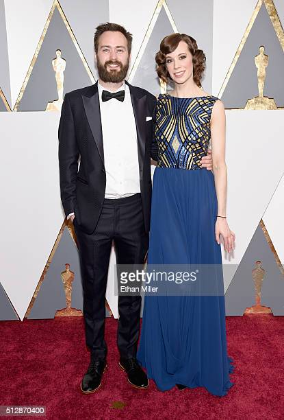Nominee for Best Live Action Short Film 'Stutterer' Benjamin Cleary and actor Chloe Pirrie wearing a custom dress by Hilfiger Collection attends the...