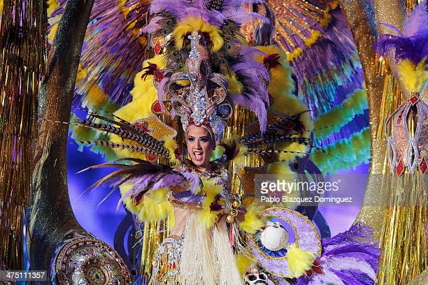 Nominee for Queen of the 2013 Santa Cruz carnival Jennifer Alonso performs on February 26 2014 in Santa Cruz de Tenerife on the Canary island of...