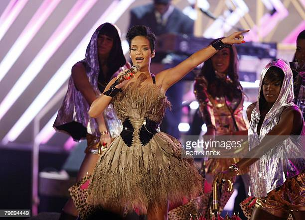 Nominee for Record Of The Year and Nominee or Best Dance Recording Rihanna performs at the 50th Grammy Awards in Los Angeles on February 10 2008 AFP...
