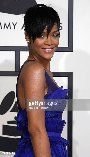 Nominee for Record Of The Year and Nominee or Best Dance Recording Rihanna arrives at the 50th Grammy Awards in Los Angeles on February 10 2008 AFP...