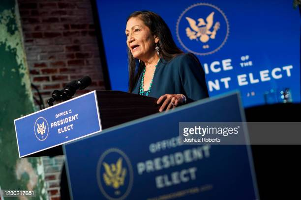 Nominee for Secretary of Interior, Congresswoman Deb Haaland, speaks after President-elect Joe Biden announced his climate and energy appointments at...