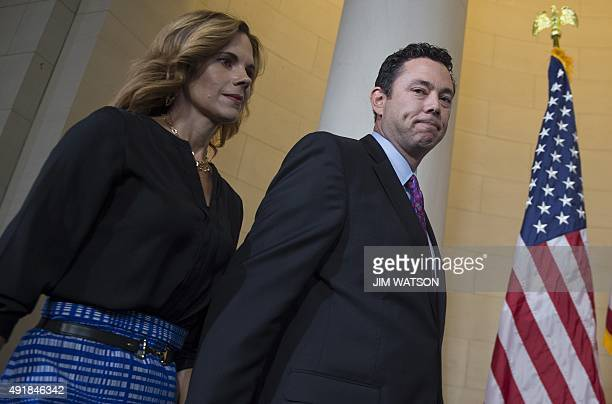 Nominee for Speaker of the House Congressman Jason Chaffetz RUtah walks out to speak with the press with his wife Julie on Capitol Hill in Washington...