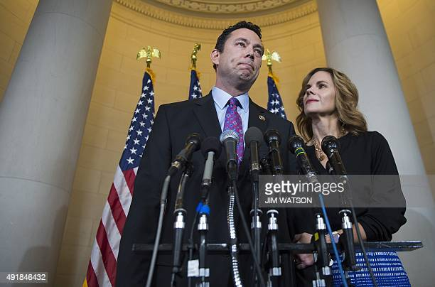 Nominee for Speaker of the House Congressman Jason Chaffetz RUtah speaks with the press with his wife Julie on Capitol Hill in Washington DC October...