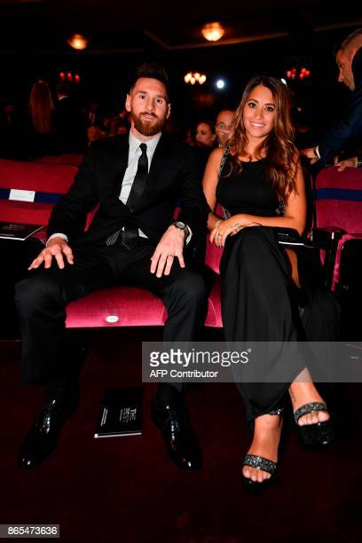 Nominee for the Best FIFA football player Barcelona and Argentina forward Lionel Messi and his wife Antonella Roccuzzo take their seats for The Best...