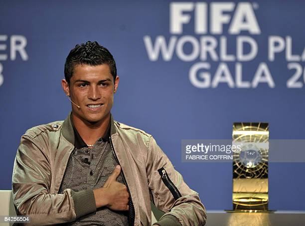 Nominee for the FIFA World player 2008 Portugal's Cristiano Ronaldo smiles during a press conference prior to the World Player Gala 2008 award...
