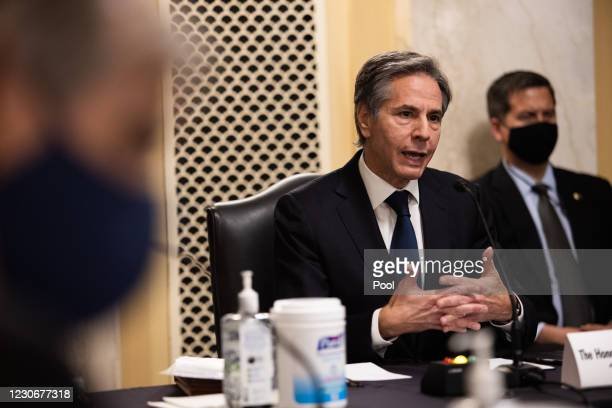 Nominee for U.S. Secretary of State Antony Blinken testifies at his confirmation hearing before the Senate Foreign Relations Committee on Capitol...