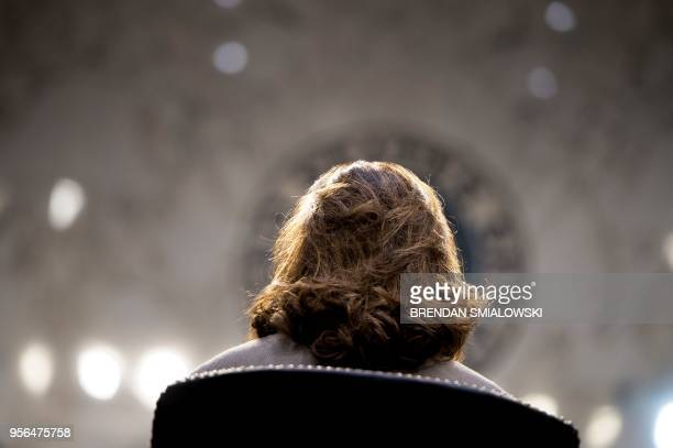 Nominee Gina Haspel listens during her confirmation hearing before the Senate Select Intelligence Committee on Capitol Hill May 9, 2018 in...