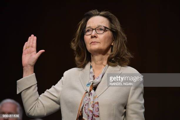 Nominee Gina Haspel takes the oath during her confirmation hearing before the Senate Select Intelligence Committee on Capitol Hill May 9, 2018 in...