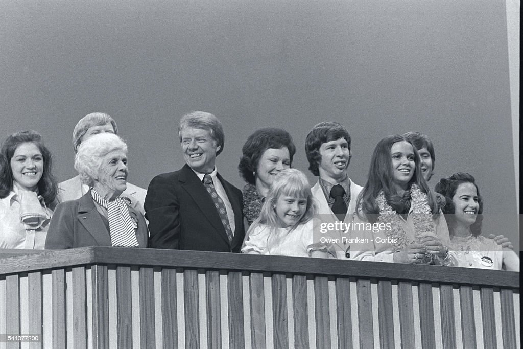 Carter and Family at Convention Podium : News Photo