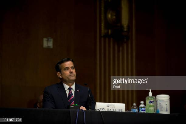 Nominee John L. Ratcliffe sits during a Senate Intelligence Committee nomination hearing at the Dirksen Senate Office building on Capitol Hill on...