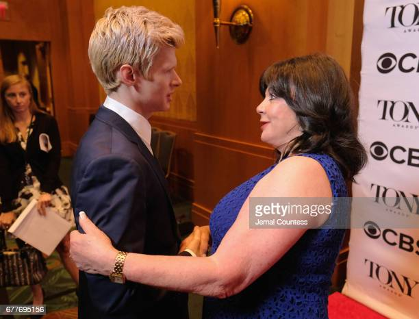 Nominee Lucas Steele and Broadway League President Charlotte St Martin attends the 2017 Tony Awards Meet The Nominees Press Junket at the Sofitel New...