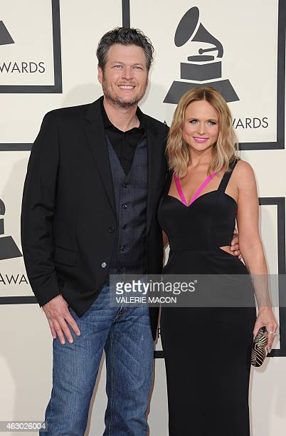 Nominee Miranda Lambert arrives with husband Blake Shelton on the red carpet for the 57th Annual Grammy Awards in Los Angeles February 8 2015 AFP...