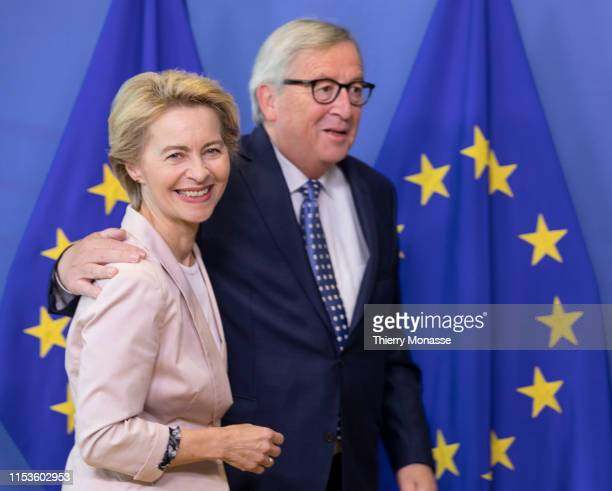 Nominee President of the EU Commission Ursula von der Leyen is welcome by the outgoing President of the European Commission JeanClaude Juncker in the...