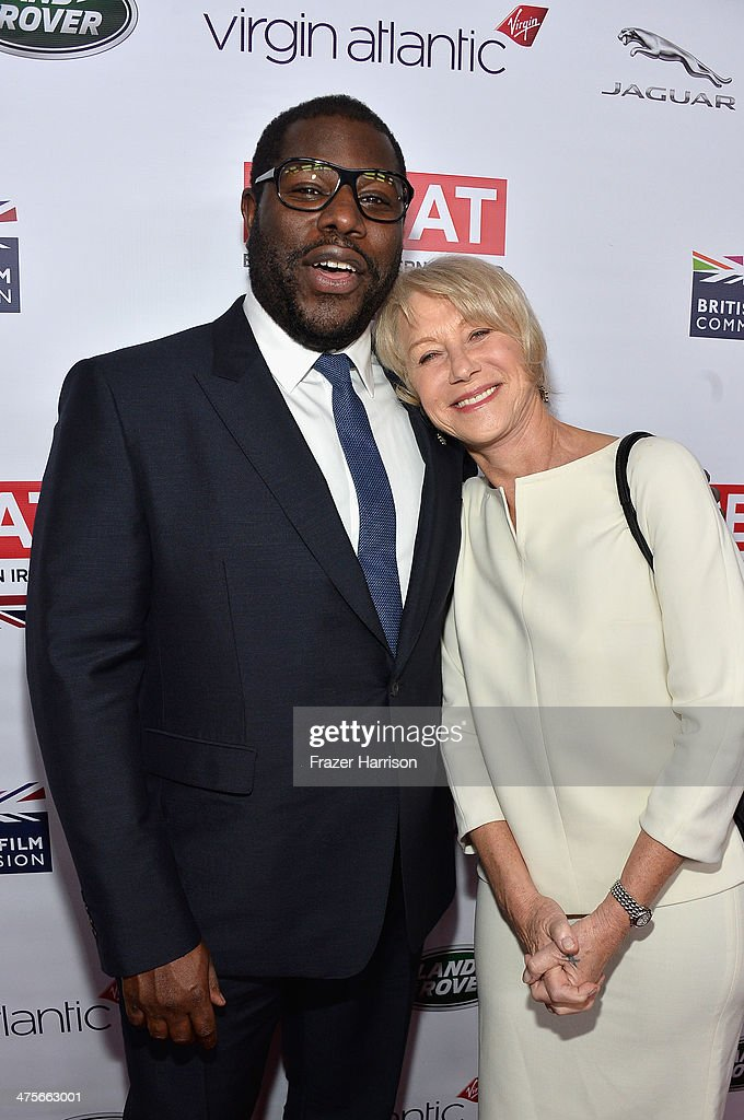 Nominee Steve McQueen (L) and Dame Helen Mirren attend the 2014 GREAT British Oscar Reception at British Consul General's Residence on February 28, 2014 in Los Angeles, California.