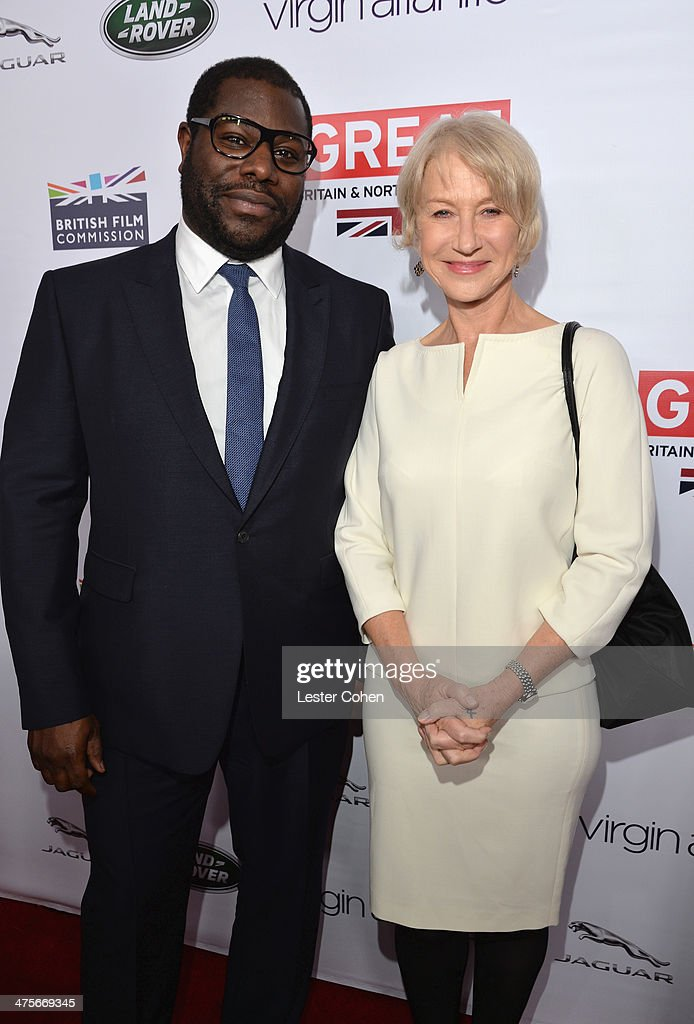 Nominee Steve McQueen and Helen Mirren attend the 2014 GREAT British Oscar Reception at British Consul General's Residence on February 28, 2014 in Los Angeles, California.