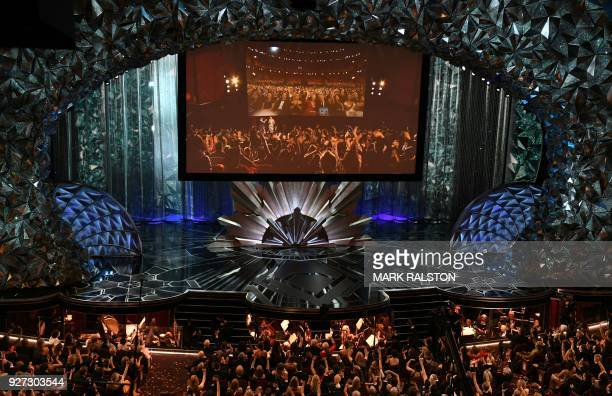 Nominees and guests interact with movie goers at the Chinese Theatre during the 90th Annual Academy Awards show on March 4 2018 in Hollywood...