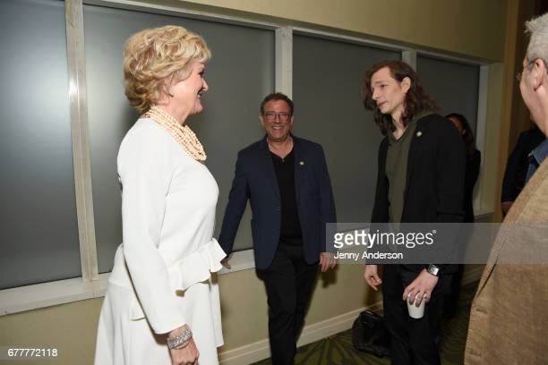 Nominees Christine Ebersole, Michael Greif and Mike Faist attend the 2017 Tony Awards Meet The Nominees Press Junket at the Sofitel New York on May...