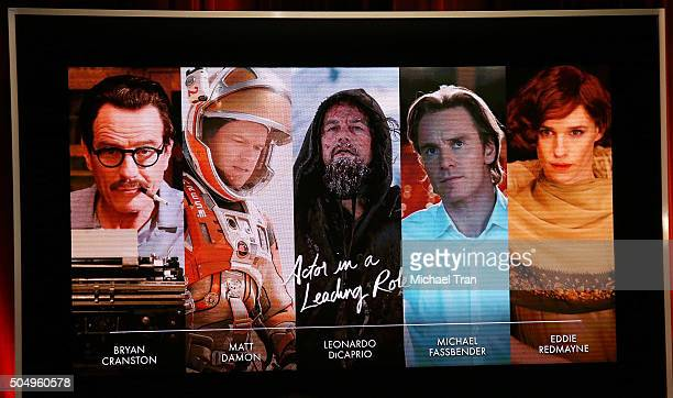 Nominees for Actor in a Leading Role announced onstage during the 88th Oscars nominations announcement held at Academy Of Motion Picture Arts And...