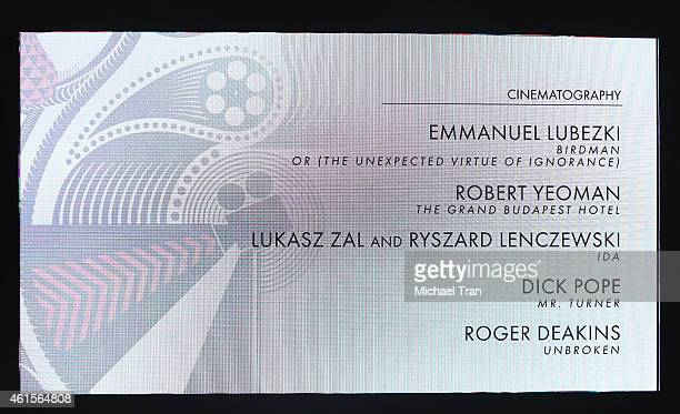 Nominees for Best Cinematography shown onstage during the 87th Oscars nominations announcement held at AMPAS Samuel Goldwyn Theater on January 15,...