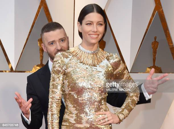 Nominees for Best Music Can't Stop The Feeling from Trolls Justin Timberlake and his wife US actress Jessica Biel arrive on the red carpet for the...