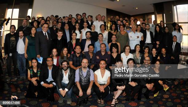 Nominees for the 59th Ariel Awards pose during an event at Fiesta Americana Hotel on June 21 2017 in Mexico City Mexico