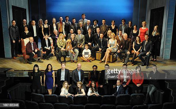 Nominees for the Olivier Awards 2013 with MasterCard pose on stage for a celebratory group photo back row stage standing Jon Morell Lee Curran Nica...