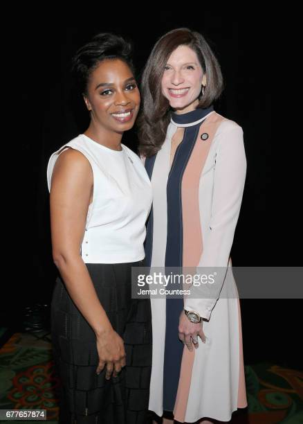 Nominees Michelle Wilson and Stacey Mindich attend the 2017 Tony Awards Meet The Nominees Press Junket at the Sofitel New York on May 3 2017 in New...