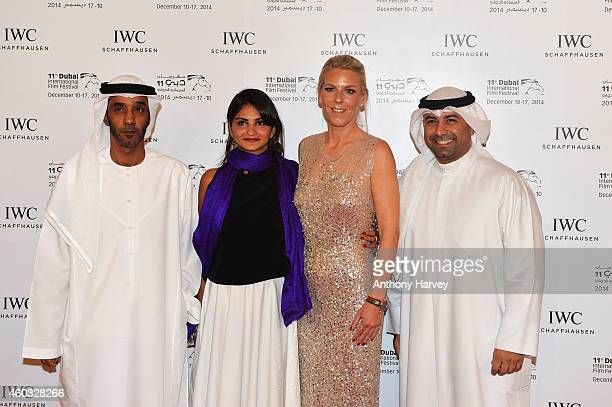 Nominees Saeed Salmeen Ahd Kamel IWC Brand Director Middle East Karoline Huber and winner Abdullah Al Boushhri during the IWC Filmmaker Award Night...