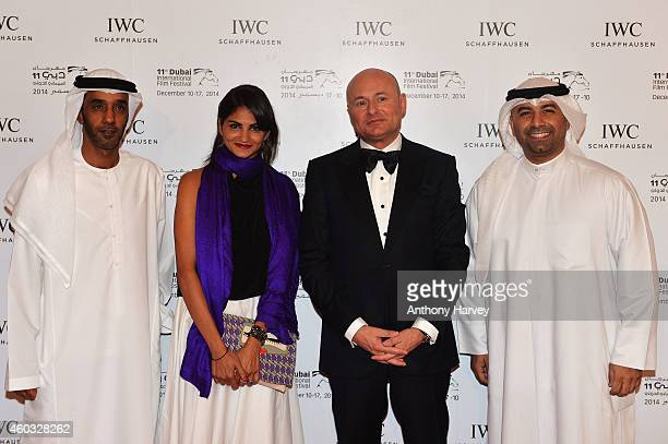 Nominees Saeed Salmeen Ahd Kamel IWC CEO Georges Kern and winner Abdullah Al Boushhri during the IWC Filmmaker Award Night 2014 at The One Only Royal...