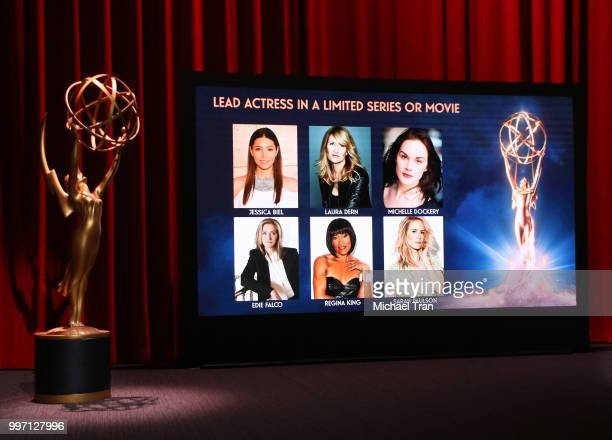 Nominees showcased onstage during the 70th Emmy Awards nominations announcement held at Saban Media Center on July 12 2018 in North Hollywood...