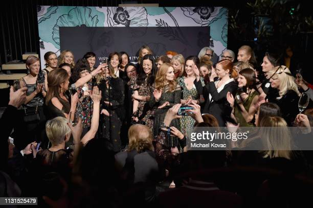 Nominees toast onstage during the 12th Annual Women in Film Oscar Nominees Party Presented by Max Mara with additional support from Chloe Wine...