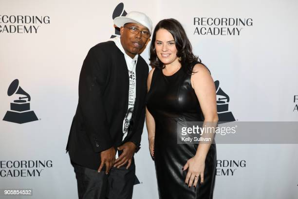 GRAMMY nominees Tommy Shepherd Jr and Kaitlin McGaw of Alphabet Rockers pose for a photo on the red carpet at the San Francisco 60th GRAMMY Award...