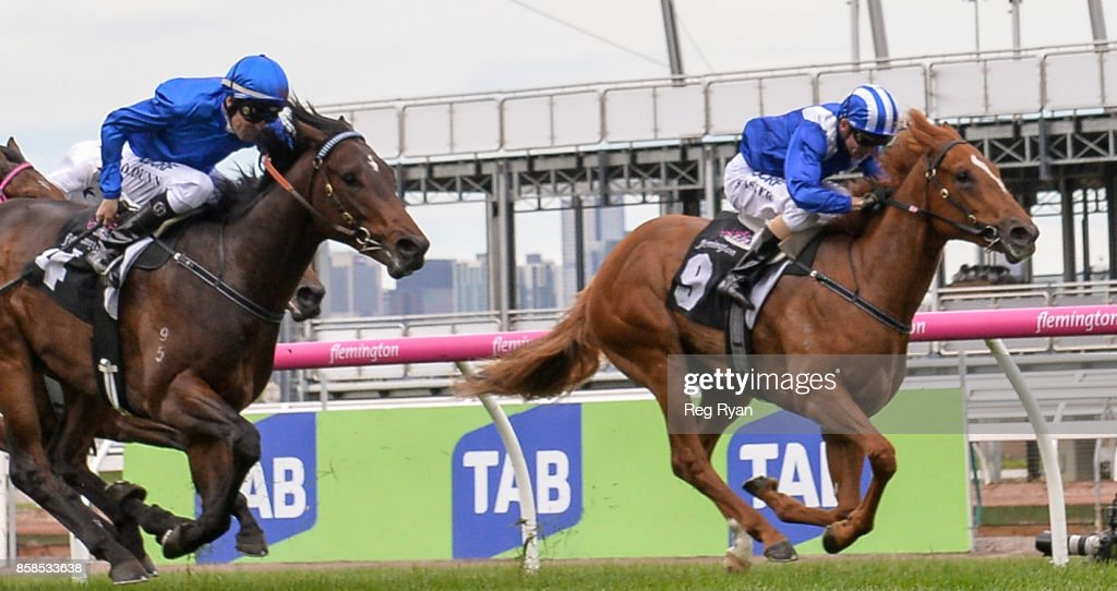 Nomothaj ridden by Stephen Baster wins Maribyrnong Trial Stakes at Flemington Racecourse on October 07, 2017 in Flemington, Australia.