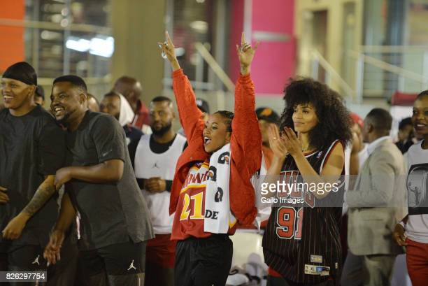 Nomuzi Mabena and Pearl Thusi at the NBA Africa Celebrity Basketball Game on August 03 2017 in Johannesburg South Africa The NBA Africa Game brought...