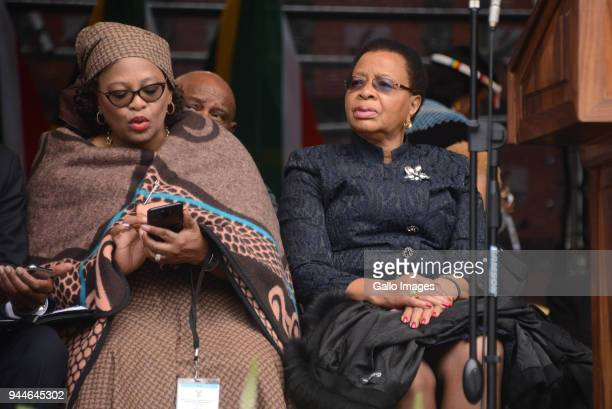 Nomvula Mokonyane and Former first lady Graca Machel during the official memorial service of the late Struggle icon Winnie MadikizelaMandela at...