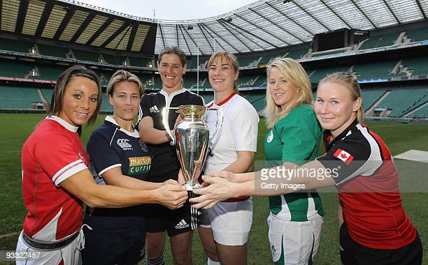 Non Evans Wales Sarah Gill Scotland Victoria Heighway New Zealand Catherine Spencer England Joy Neville Ireland and Mandy Marchuk of Canada hold the...