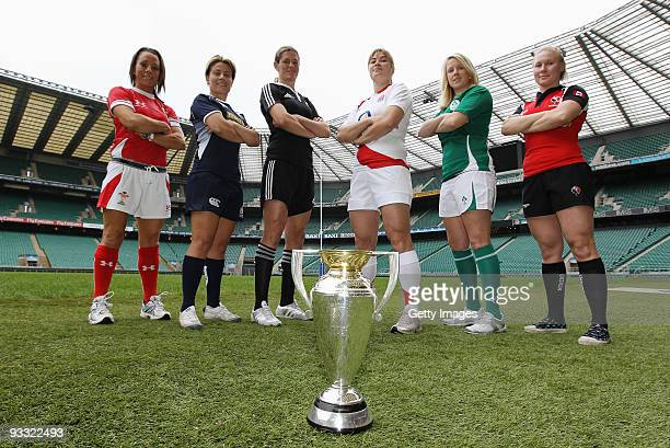 Non Evans Wales Sarah Gill Scotland Victoria Heighway New Zealand Catherine Spencer England Joy Neville Ireland and Mandy Marchuk of Canada pose with...