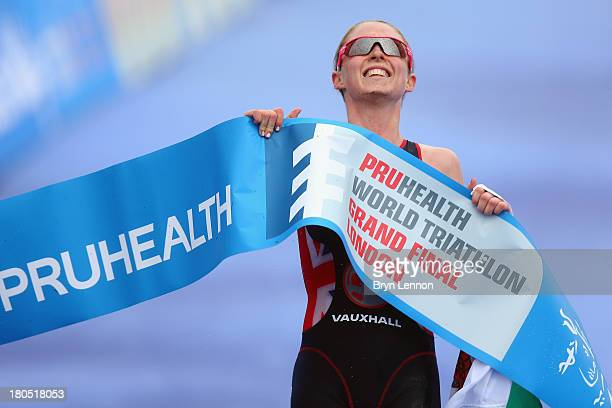 Non Stanford of Great Britain crosses the finish line to win the Pruhealth World Triathalon Grand Final and the ITU World Triathalon Series at Hyde...