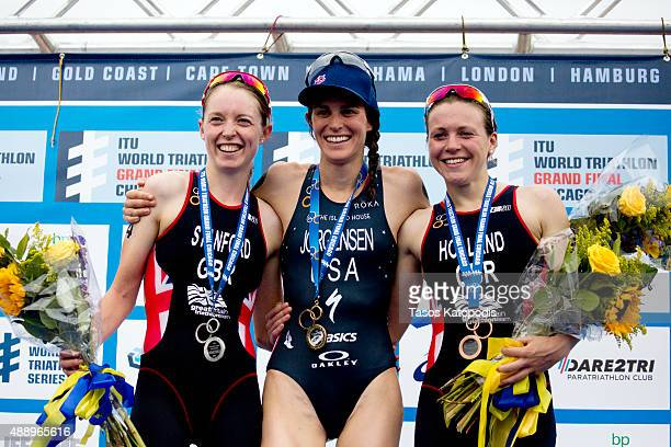 Non Stanford of Great Britain Gwen Jorgensen of USA and Vicky Holland of Great Britain celebrates winning the women's elite at the 2015 ITU World...