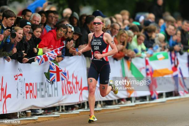 Non Stanford of Great Britain in action on her way to winning the Pruhealth World Triathalon Grand Final and the ITU World Triathalon Series at Hyde...