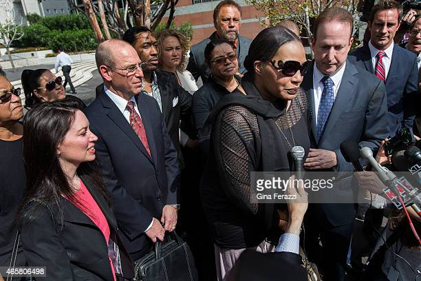 Nona Gaye daughter of the late recording artist Marvin Gaye and attorney Richard Busch speak to the media after a federal jury found Pharrell...